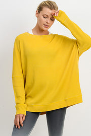 Waffle Ribbed Crew Pullover in Yellow | Allure Apparel Co