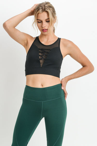 Wraparound Mesh Lace Front Sports Bra in Black | Allure Apparel Co