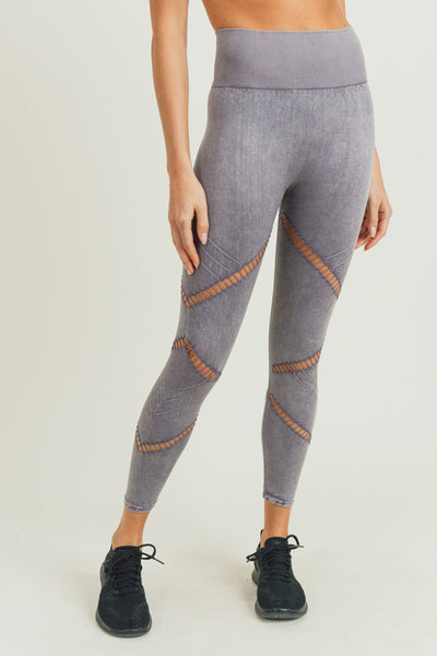 Zig Zag Perforated Mineral Wash Seamless Leggings in Mauve | Allure Apparel Co