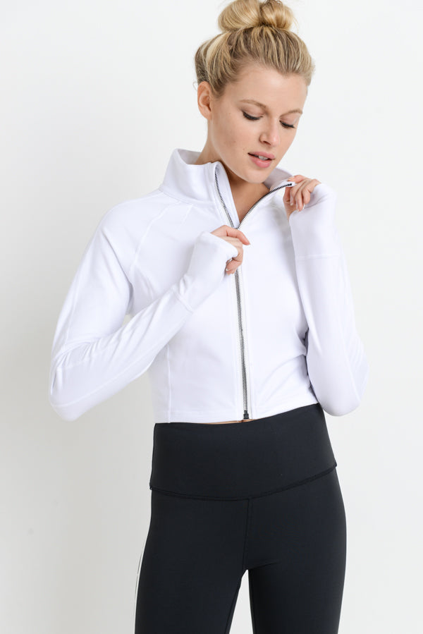 Zip Active Long-Sleeve Crop Jacket in White | Allure Apparel Co