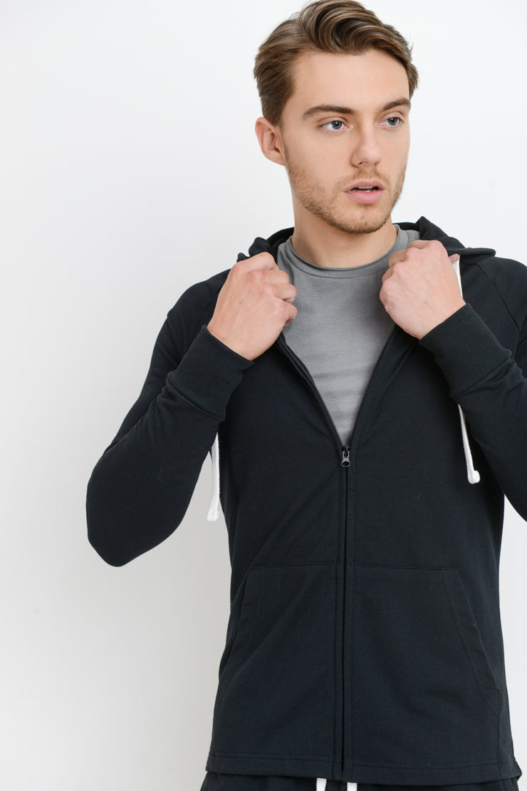 Zip-Up Hoodie Jacket in Black | Allure Apparel Co