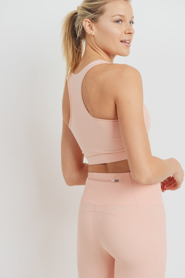 Zip-Up Racerback Sports Bra in Cantaloupe | Allure Apparel Co
