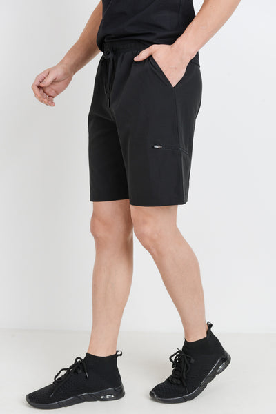 Zippered Active Drawstring Shorts in Black | Allure Apparel Co