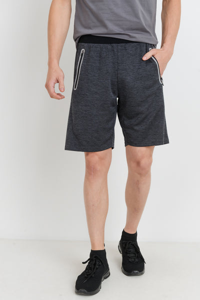 Zippered Athletic Leisure Shorts in Melange | Allure Apparel Co