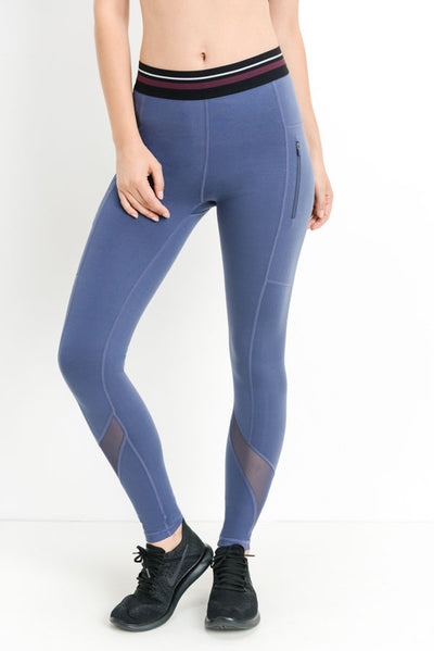 Zippered Varsity Mesh Full Leggings in Denim Blue | Allure Apparel Co
