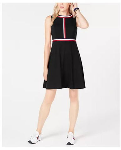 Tommy Hilfiger Striped-Trim A-Line Dress - Size 8