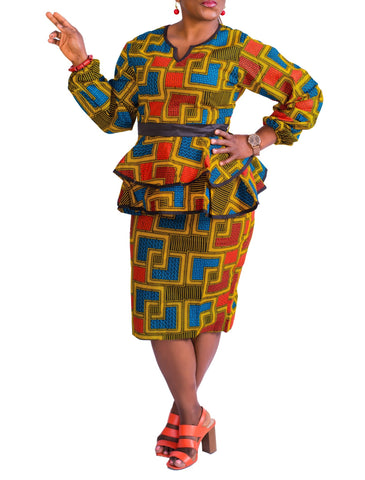 Blockz Peplum Blouse & Skirt - Ankara
