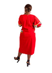 Ladies Red Crepe & Ankara Midi Dress