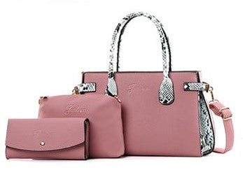 Croc plain and patterned details 3-in-1 handbag