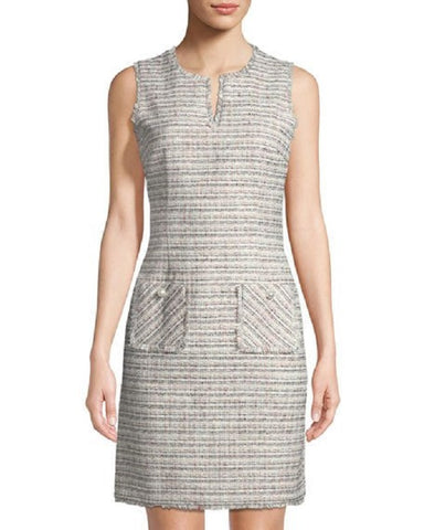Karl Lagerfeld Women's Tweed Shift Dress with Pockets - White Black Pink - Size 16