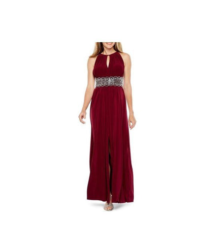 Keyhole Sleeveless Embellished Dress - Burgundy