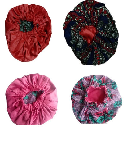 Queenie Reversible Satin/Prints Hair Bonnets - Red & Pink (pack of 2)