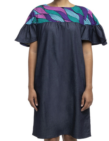 Dierdre Denim & Purple African Prints Dress