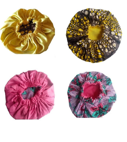 Queenie Reversible Satin/Prints Hair Bonnets - Yellow & Pink (pack of 2)