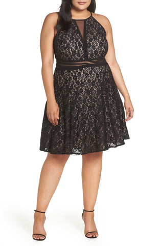 Morgan & Company Sheer Inset Lace Fit & Flare Dress