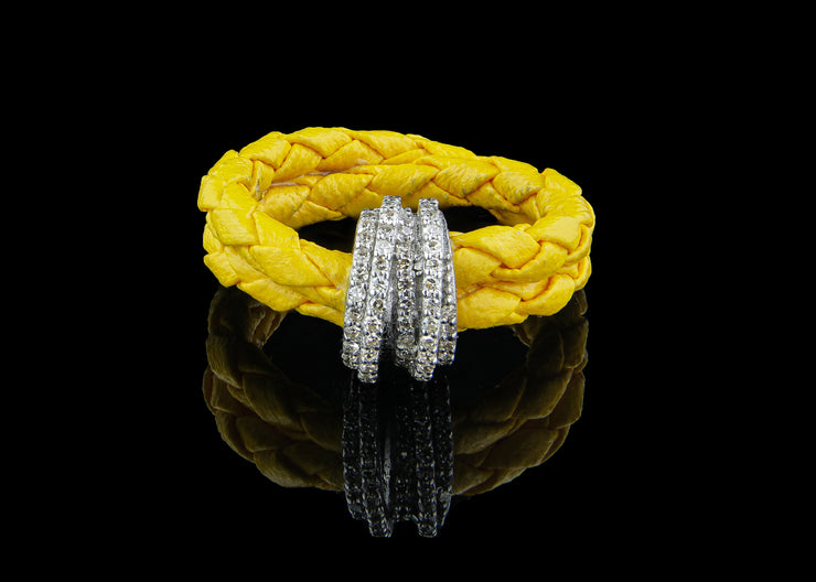 Yellow Leather Ring with Diamonds