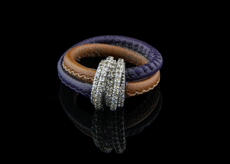Purple and Brown Leather Ring with Diamonds