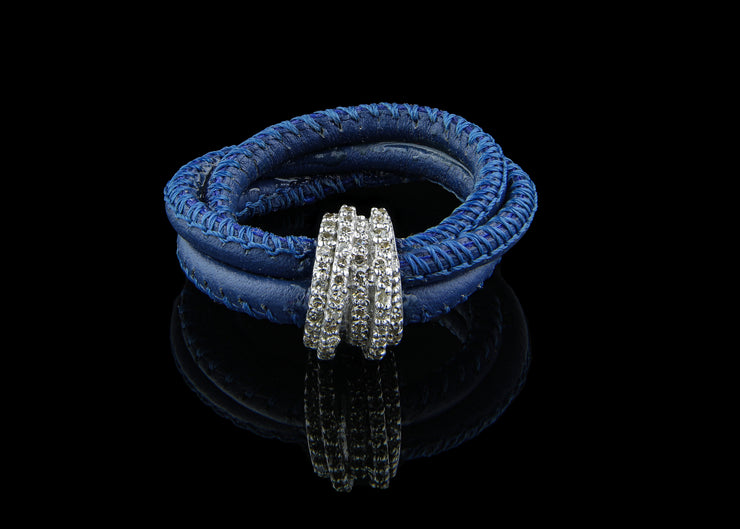 Blue Leather Ring with Diamonds