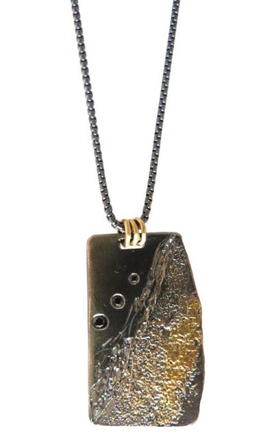 Boulder Edge Necklace, fused with Silver, Gold and Black Diamonds