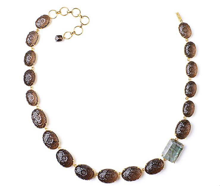 Carved Smoky Quartz and Labradorite Necklace