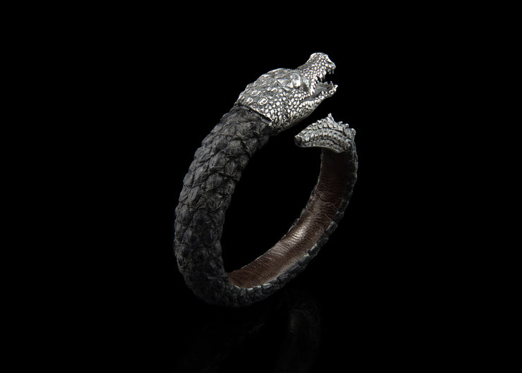Crocodile Bracelet, Single Cuff in Silver with Abalone Shell detailing