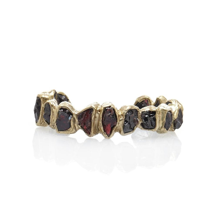 Deep Seafaring Cuff with Rough-cut Garnet in Brass