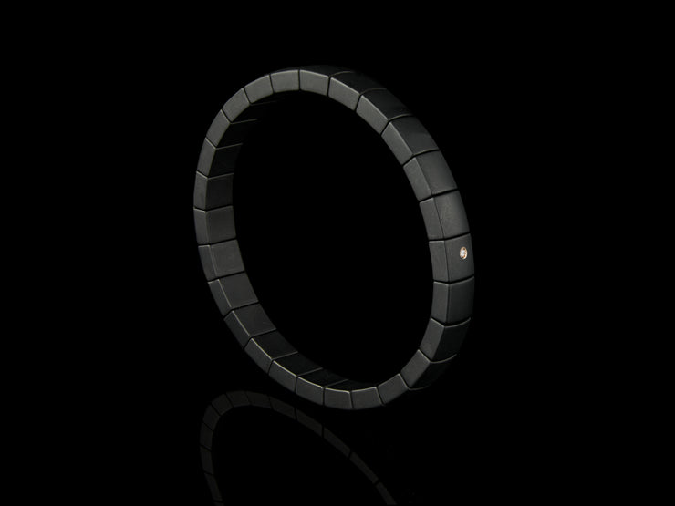 Black Ceramic Bracelet with a Single Diamond