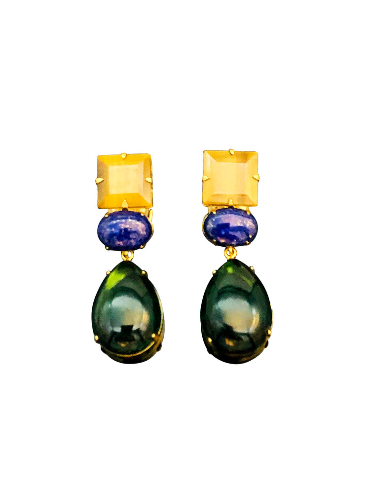 2-in-1 Tiger Eye, Lapis Lazuli and Green Diopside Earrings