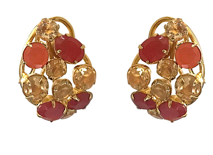 Carnelian and Lemon Quartz Shield Earrings