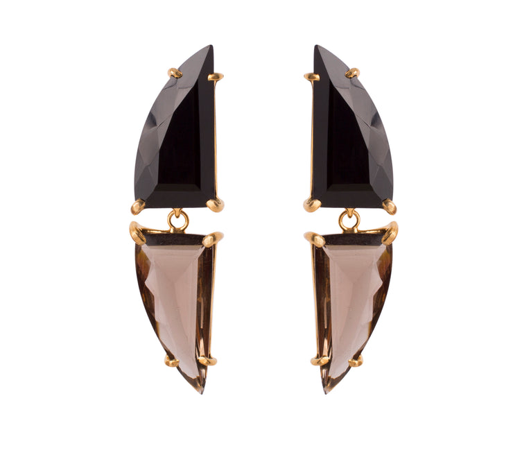 2-in-1 Black Onyx and Smoky Quartz Earrings