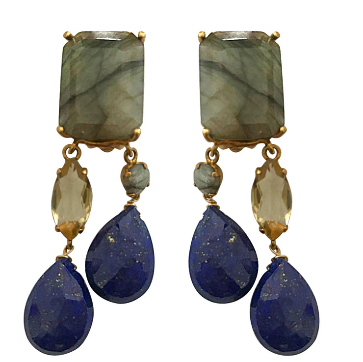 Labradorite, Lemon Quartz and Lapis Lazuli Dangle Earrings