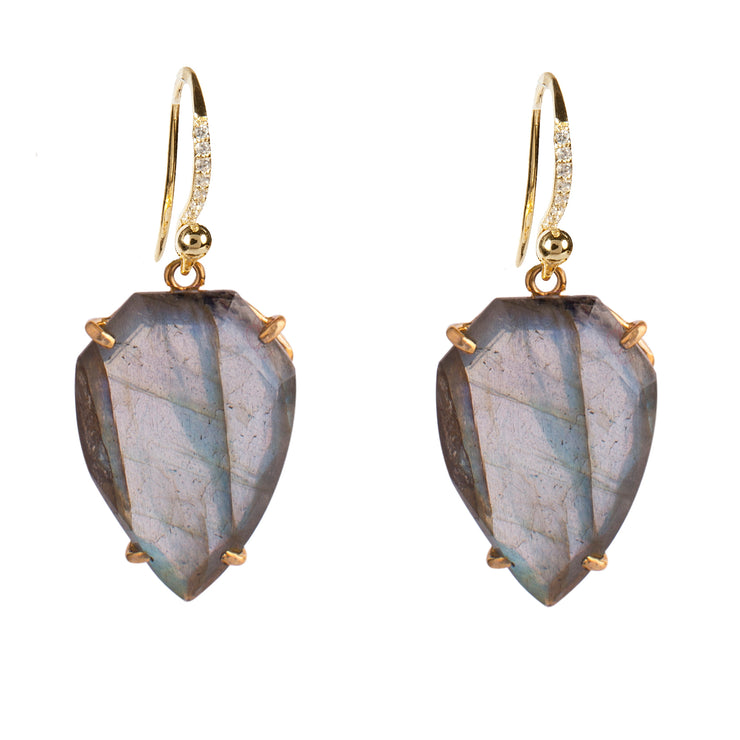 Irridiscent Labradorite Shield earrings