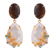 2-In-1 Carved Smoky Quartz, Mother of Pearl and DragonFly Earrings