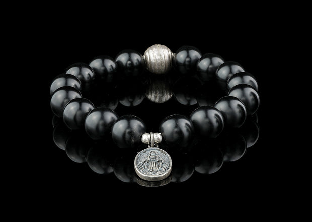 Lava Rock Sterling Silver Saint Beaded Bracelet
