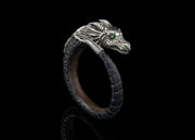 Majestic Dragon, Single Cuff in Silver with Abalone Shell detailing