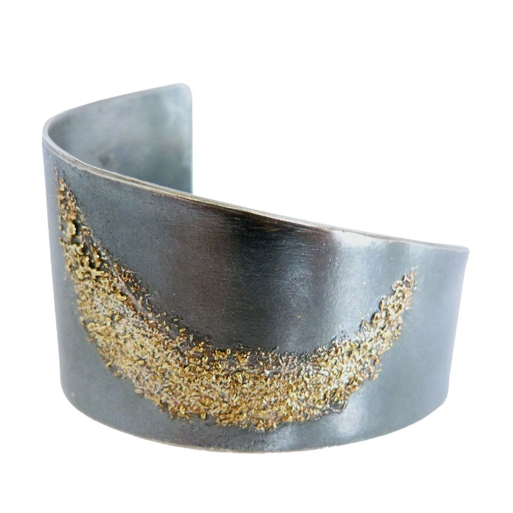 Moon Dust Cuff with Oxidized Silver and Gold Dust