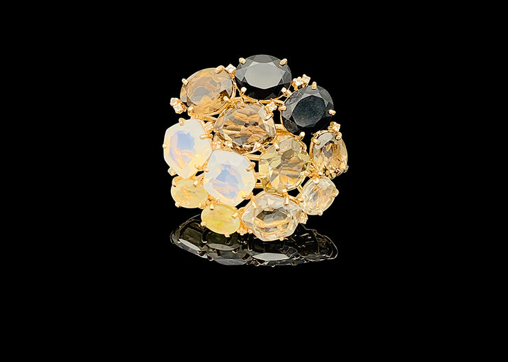 Extraordinary Multi- Quartz Statement Ring