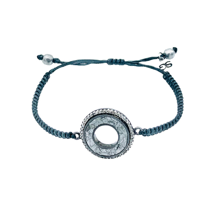 Meena Bracelet, Oxidized Silver with Raw Uncut and Pave Champagne Diamonds