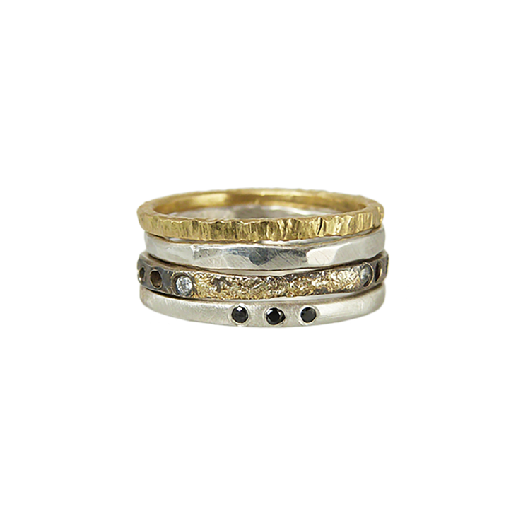 Oxidized Stackable Ring fused with gold and diamonds