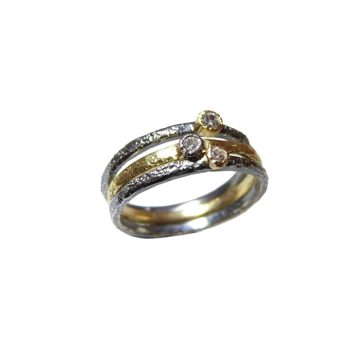 Oxidized Silver Stackable Ring with Gold and Diamond