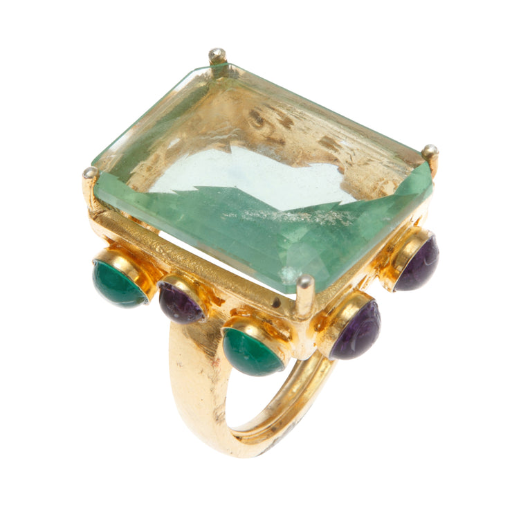 Fluorite, Green Onyx and Amethyst Ring