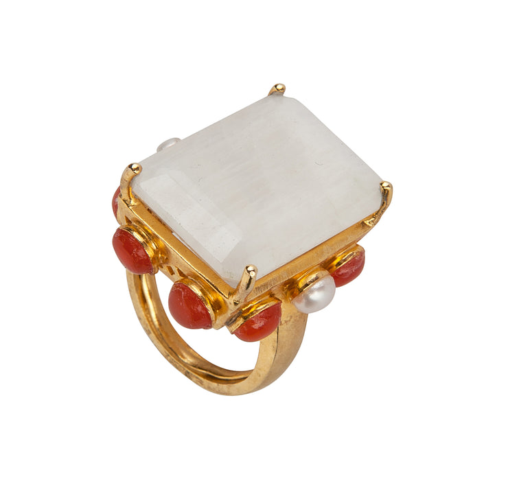 Moonstone, Carnelian and Pearls Ring