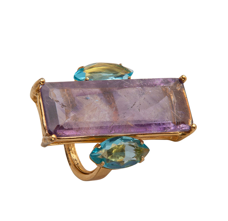 Amethyst and Blue Quartz Ring