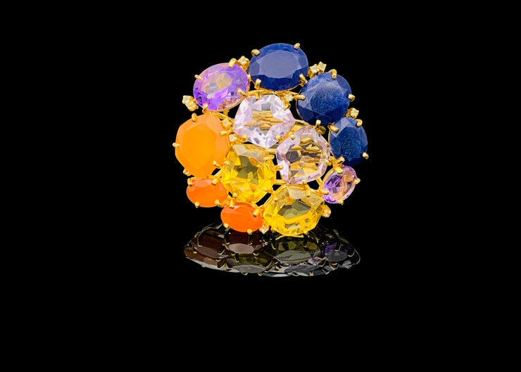 Extraordinary Rainbow of Gems Statement Ring