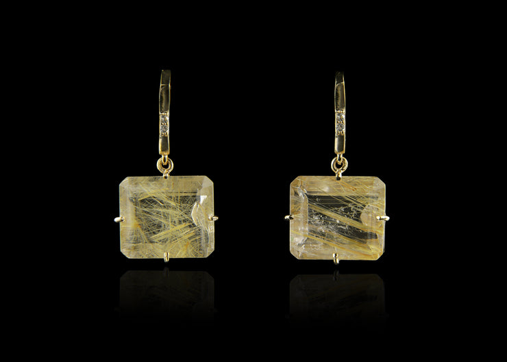 Drop Earrings with Rutilated Quartz