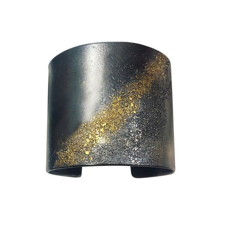 Statement Silver Cuff with 22k Gold Dust