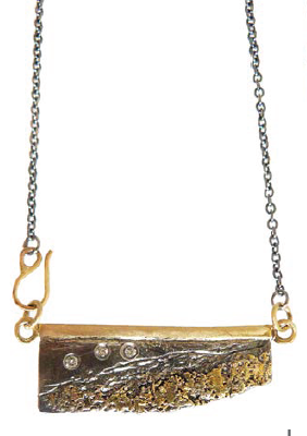 Strata Edge Necklace with Gold and Diamonds