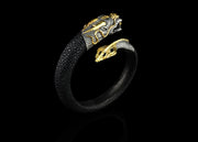 Treasure Dragon in Gold with Black Diamonds