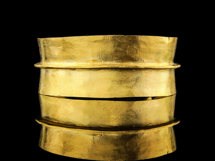 Tribal Cuff Bracelet in 24k Gold Plated Brass
