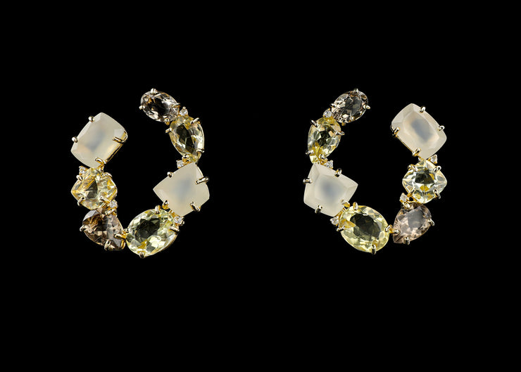 Wreath Hoop Earrings with Yellow Light Citrine, Perla Agate and Smoky Quartz